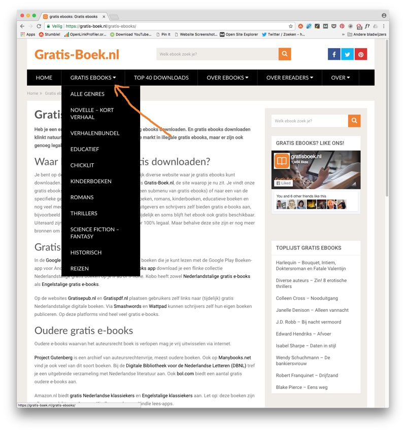 Het menu van Gratis-Boek.nl: klik op een genre om alle gratis ebooks in dat genre te bekijken